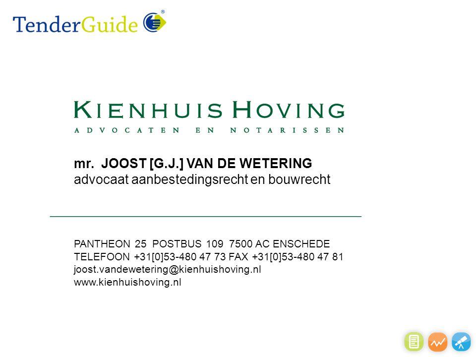 mr. JOOST [G.J.] VAN DE WETERING